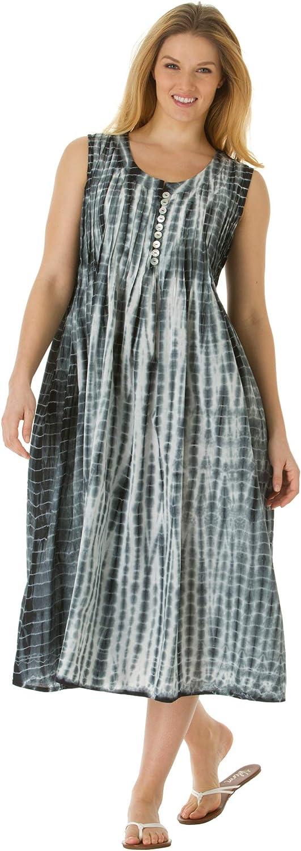 Woman Within Women's Plus オーバーのアイテム取扱☆ Size Dress Tie-Dye Sleeveless Pintuck 激安