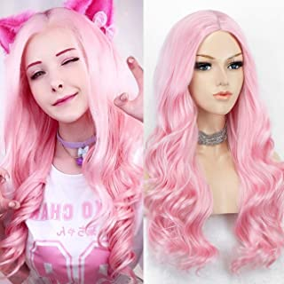 K'ryssma Baby Pink Wig Long Wavy Pink Wig with Middle Parting Light Pink Synthetic Wigs For Cosplay Party Glueless 22 inches