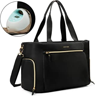 mommore Breast Pump Bag Diaper Tote Bag with 15 Inch Laptop Sleeve Fit for Most Breast Pumps Like Medela, Spectra S1,S2, Evenflo