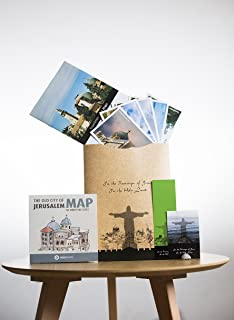 Mapot-Israel Original in The Footsteps of Jesus in The HOLY Land. Designed maps, Original Stone from The Sea of Galilee, 6 Postcards & a Bookmark