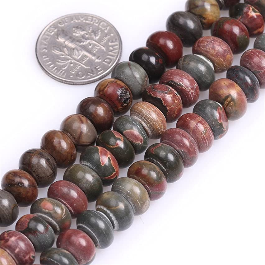 Picasso Jasper Beads for Jewelry Making Natural Semi Precious Gemstone 5x8mm Rondelle Strand 15
