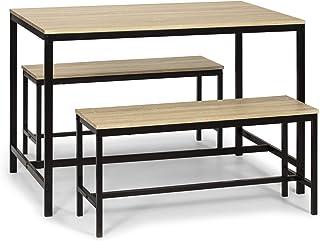 VS Venta-stock Conjunto Mesa y 2 Bancos Lisboa para Comedor o Cocina, Mesa 110 cm x 70 cm x 75 cm, Estructura metálica