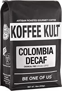 Koffee Kult Colombian Decaf Coffee, Medium Roast, Water Process Chemical Free (Ground)