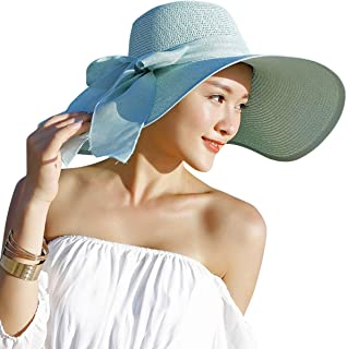 e45ccbf7c1a0b Lanzom Womens Big Bowknot Straw Hat Floppy Foldable Roll up Beach Cap Sun  Hat UPF 50