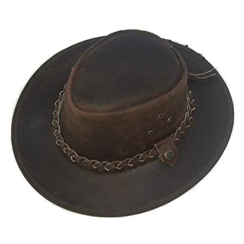 LEATHER COWBOY WESTERN AUSSIE STYLE OUTBACK BUSH HAT 2b Brown 65d8f1b12102