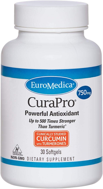 EuroMedica CuraPro - 750mg 30 Turmeric Potency Super Special SALE held Softgels Max 81% OFF High