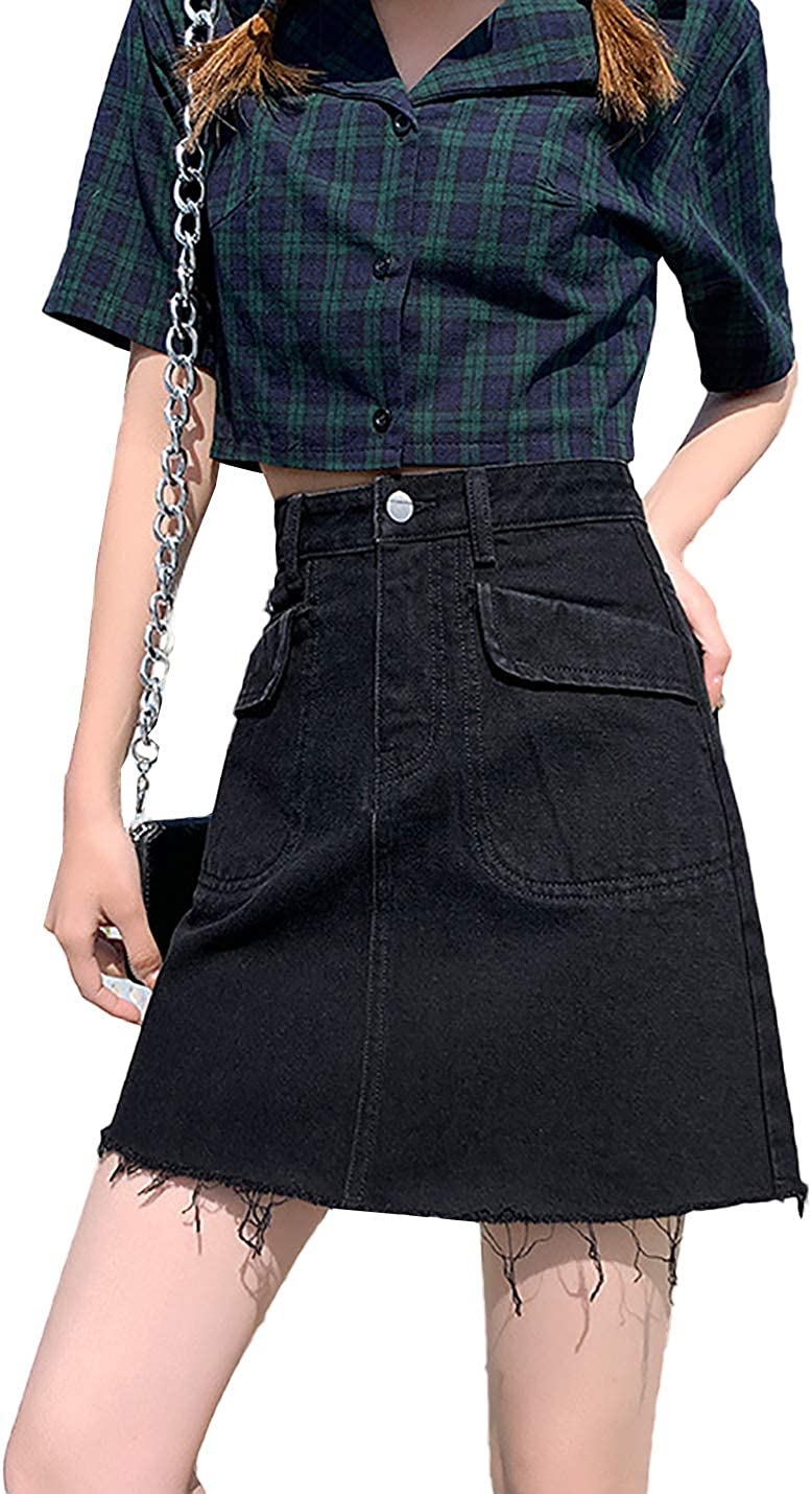 IKIIO Women's Summer Casual High Waisted Relaxed Fit Denim Skirt A Line Skirts with Pockets