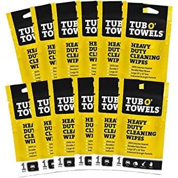 """Tub O Towels Heavy Duty 10"""" x 12"""" Multi-Surface Cleaning Wipes, On-The-Go 12-Pack (TW01-12)"""
