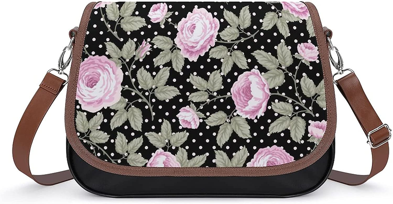 Shoulder Bag Floral Pattern With Roses At the price Sat Messenger Leather Large-scale sale