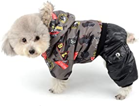 Ranphy Waterproof Dog Winter Coat Snowsuit Girl Boy Fleece Lined Jumpsuit Puppy Hoodie Chihuahua Clothes Windproof Doogy Parka Outfit Cotton-Padded Hood Jacket for Small Dogs Cats