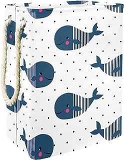 EZIOLY Panier à linge pliable en forme de baleine avec poignées et supports amovibles - Étanche - Idéal pour ranger vêteme...