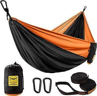 Puroma Camping Hammock Single & Double Portable Hammock Ultralight Nylon Parachute Hammocks with 2 Hanging Straps for Back...