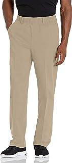 Haggar Men's Iron Free No Iron Classic Fit Flat Front Full Elastic Pant Casual Pants