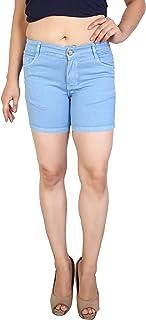 FCK-3 Red Colored Strechable Denim Shorts for Women