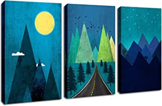 Blue Canvas Wall Art Starry Night Sky Moon Prints Artwork Abstract Mountain Landscape Painting Stretched and Framed on Canvas for Bedroom Living Room Bathroom Nursery Decor 12