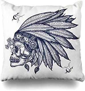 Ahawoso Throw Pillow Covers Hippie Ancient Indian Skull Tattoo Warrior Head Hipster Shaman Engraving Graphic Tribe Design Home Decor Pillow Case Square Size 16 x 16 Inches Zippered Pillowcase