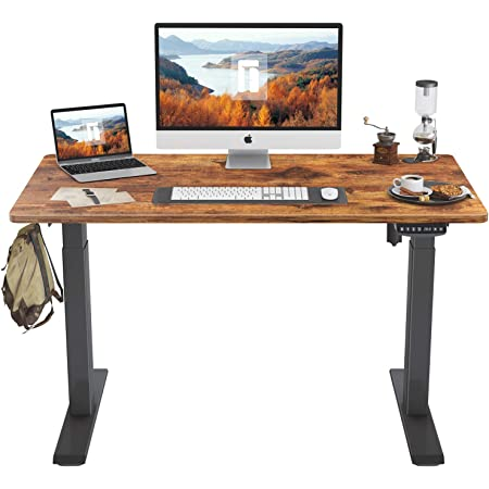 Shw Electric Height Adjustable Computer Desk 48 X 24 Inches Oak Kitchen Dining