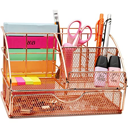 USAHI Desk Organiser Rose Gold - with Drawer Accessories Metal Mesh Supply Makeup, Pen and Pencil Holder for every Office and Household, Desk Tidy (With 72 free clips)
