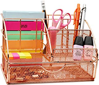 USAHI Desk Organiser Rose Gold - with Drawer Accessories Metal Mesh Supply Makeup, Pen and Pencil Holder for every Office ...