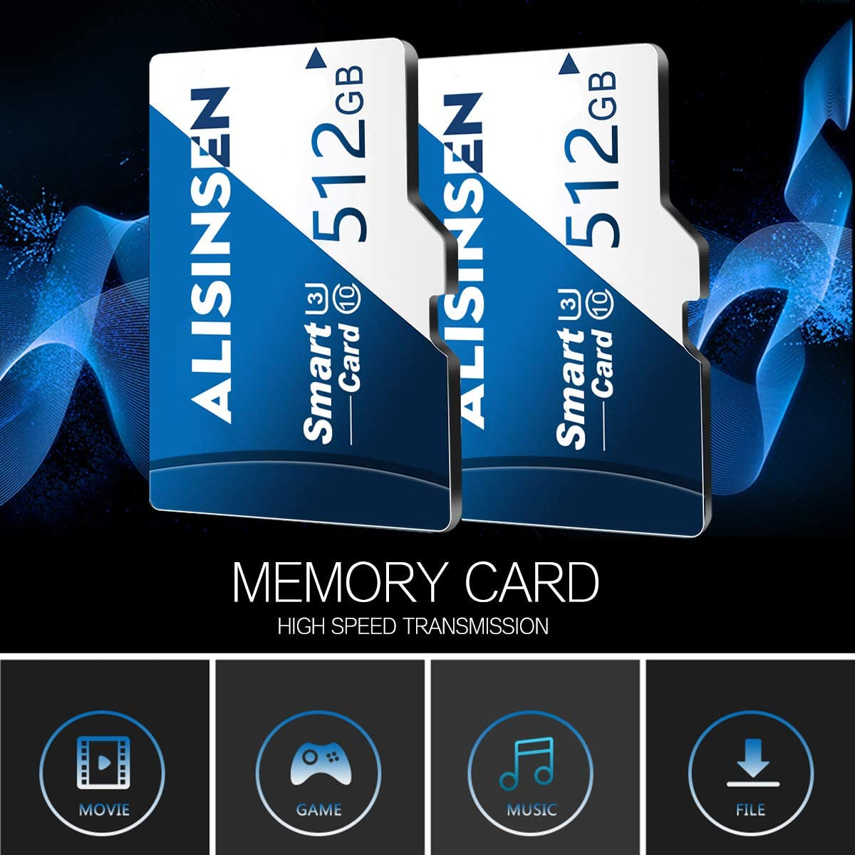 Micro sd Card 512GB SD Memory Card for Android Smartphones,TF Card Class 10 with A SD Card Adapter for Tablet Computer/Phone/Surveillance Tachograph Drone/Action Camera/Surveillance&Security Cams