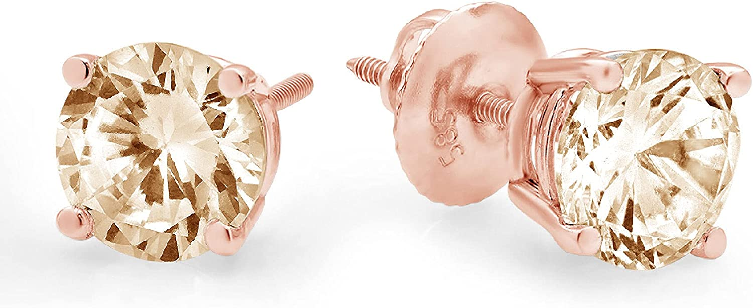 0.9ct Brilliant Round Cut Solitaire Flawless Genuine VVS1 Yellow Moissanite Gemstone Unisex Pair of Stud Designer Earrings Solid 18k Pink Rose Gold Screw Back conflict free Jewelry