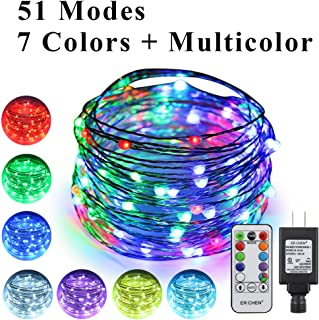 ErChen 51 Modes 7 Colors + Multicolor LED String Lights, 33FT 100 RGB LEDs Plug in Color Changing Silver Copper Wire Fairy Lights with Remote Timer UL Adapter for Christmas Party Bedroom