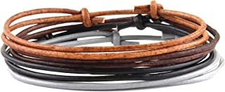 Dowling Brothers 4 Pack Genuine Leather Summer Camp Minimal Handmade Knot Bracelet