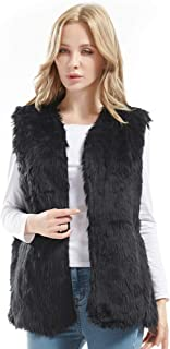 Bellivera Women's Faux Fur Vest Warm Sleeveless Outwear for Fall and Winter