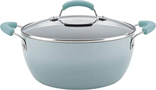 Rachael Ray Classic Brights Collection Porcelain II 5.5 Qt. Covered Casserole, Sky Blue