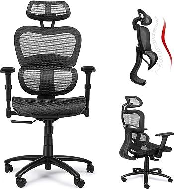 Komene Ergonomic Office Chair High Back Computer Desk Chair with Adjustable Headrest, Lumbar Support and 3D Armrest, 360°Swivel Executive Chair(Black