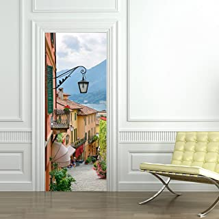 3D Door Sticker, Wall Sticker Italy Como Lake Town Street Landscape Vinyl Wallpaper Self-Adhesive Waterproof Wall Mural Decal for Home Decoration Bedroom Living Room (Italy Como Lake Town Street)