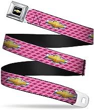 Buckle-Down Seatbelt Belt - Chevy Gold Bowtie w/Logo PINK - 1.5