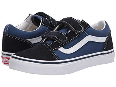 Vans Kids Old Skool V (Big Kid) (Navy/True White) Kids Shoes