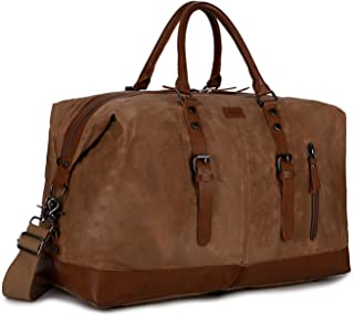Waxed Canvas Travel Duffel Bag Carry on Weekender Overnight Bag for Men HB-14 (Waxed Brown)