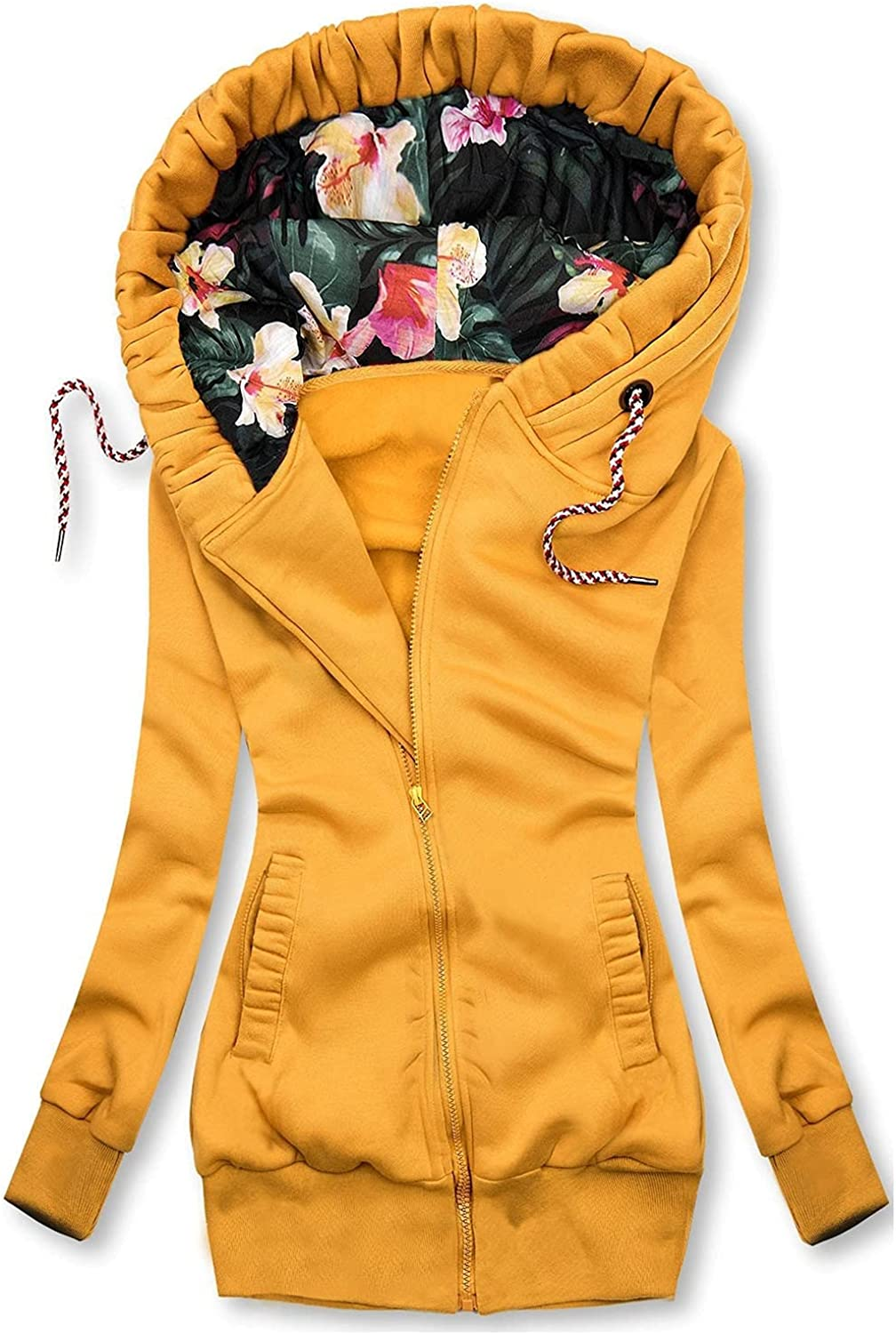 Womens Tops Floral Graphic Challenge the lowest price Warm Coat Full Sleeve Long Same day shipping V-Neck Zip