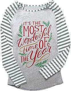 Qearal Christmas Ugly Party Elk Xmas Holiday Celebration Tees Printed Funny Striped Long Sleeve Shirt