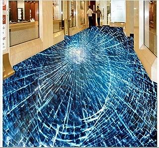 3D PVC Flooring Custom Photo Self-Adhesion Waterproof Floor Broken Glass Painting Picture Room Wallpaper for Walls,250x175cm
