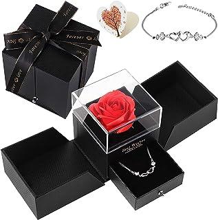 Siebwin Rose Eternelle, Coffret Cadeau avec Bracelet en Argent en Forme de Coeur Amour éternel, Idee Cadeau Anniversaire S...