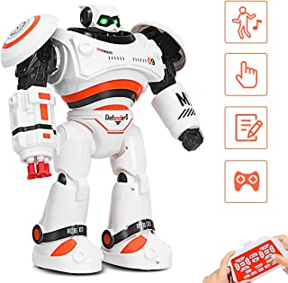 Costzon Remote Control Robot Toy, RC Programmable Robot for Kids Multi Function Shoots Missiles Flashing Lights Walks Dances Sounds, Smart Robotics for Children Boys Girls(Orange)