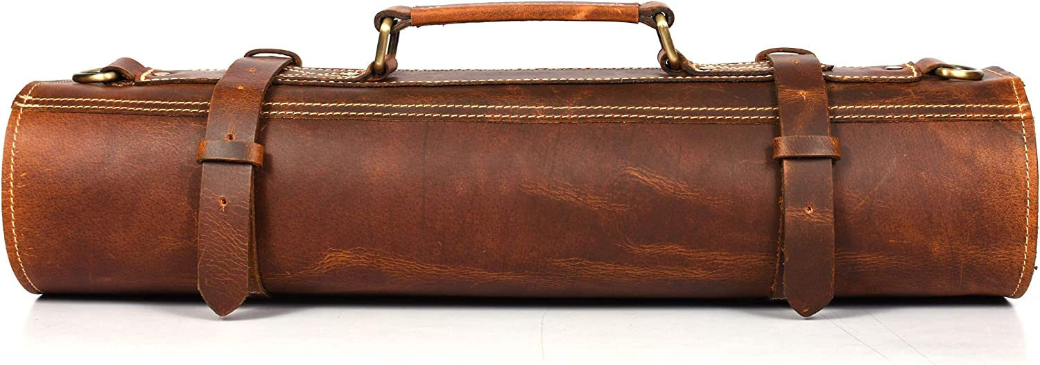 Leather Knife Roll Storage Bag San Francisco Mall Expandable 10 Sales Elastic and Pocket