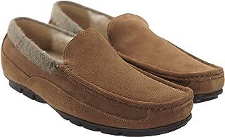 Samuel Windsor Men's Suede Moccasin Slippers with Tweed Trim