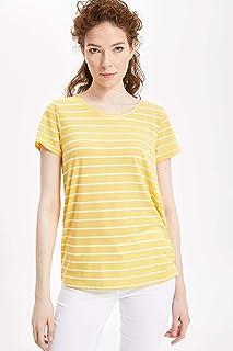7fb27eeb27333 DeFacto Kadın Tişört Çizgili Kısa Kollu T-shirt
