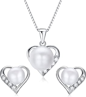 Heart Shaped Flawless Pearl Post Stud Earrings & Silver Chain Pendant Set  Impeccable Quality Natural, Flawless Freshwater Pearl & 925 Sterling Silver  The Best Jewelry Set Gift (1   White Pearls)