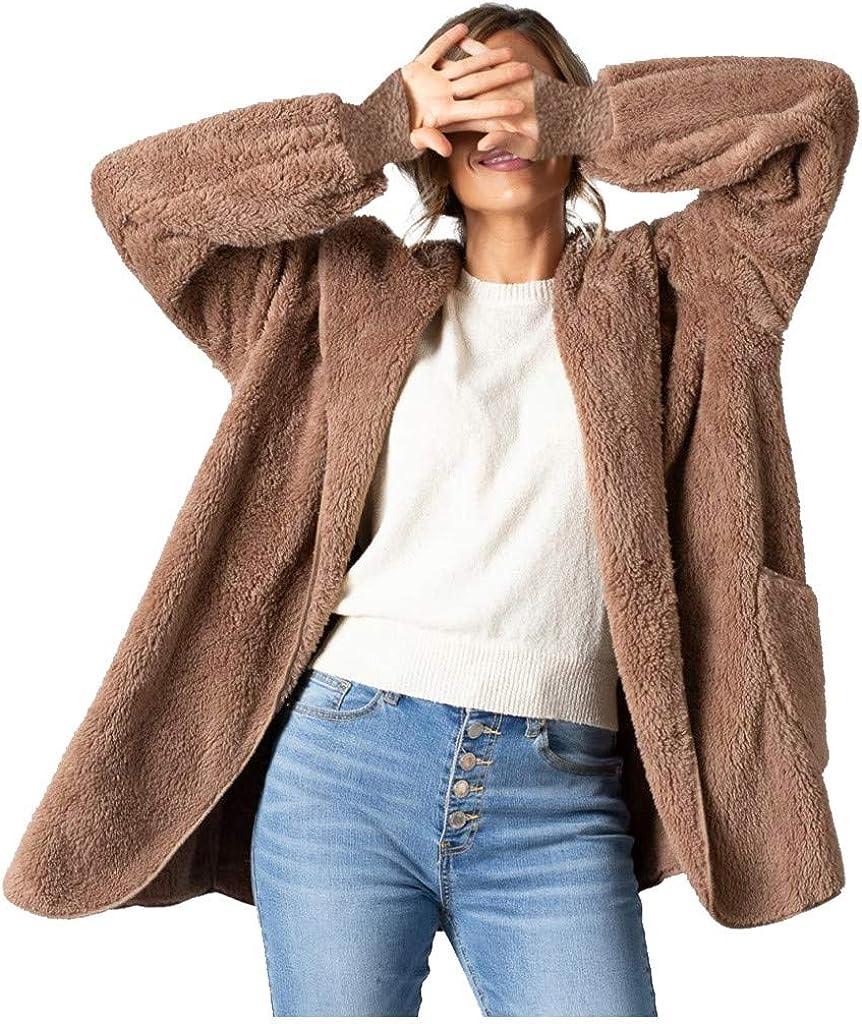 Forwelly Women Winter Long Coat Thicken Fluffy Plush Turtleneck Open Front Cardigan Warm Jacket Outwear