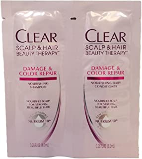 Clear Moisturizing shampoo and conditioner daily single use packets, travel size, TSA approved, (Ten Vitamins and Nutrients) (6 Pack, Clear Beauty products)