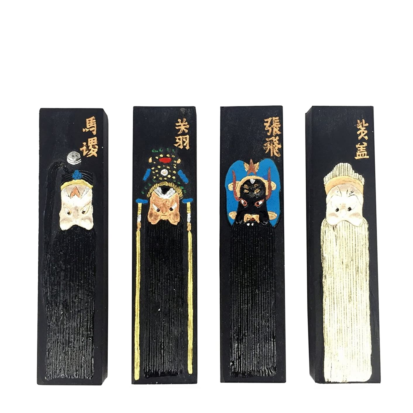 Old Hu Kai Wen Inksticks INKSTON Set with a Handmade Xuan Paper Sample (Beijing Opera)
