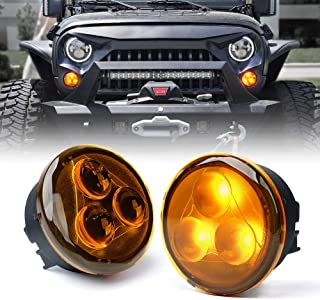 Xprite Amber LED Turn Signal Light Assembly with Amber Lens for 2007-2018 Jeep Wrangler JK