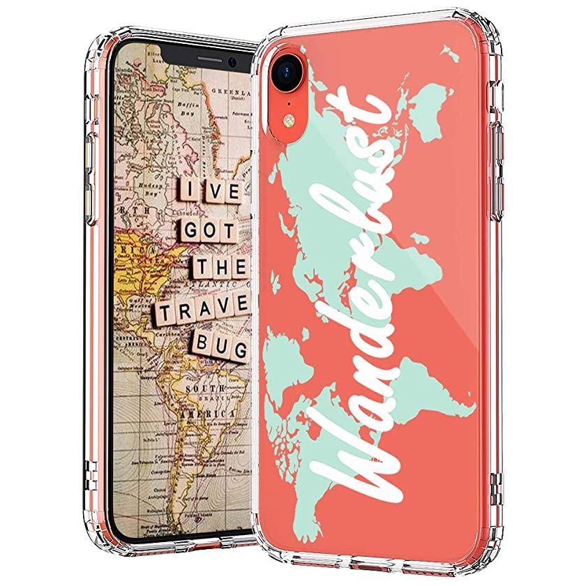MOSNOVO iPhone XR Case, Wonderlust World Map Pattern Printed Clear Design Transparent Plastic Back Case with TPU Bumper Protective Case Cover for iPhone XR