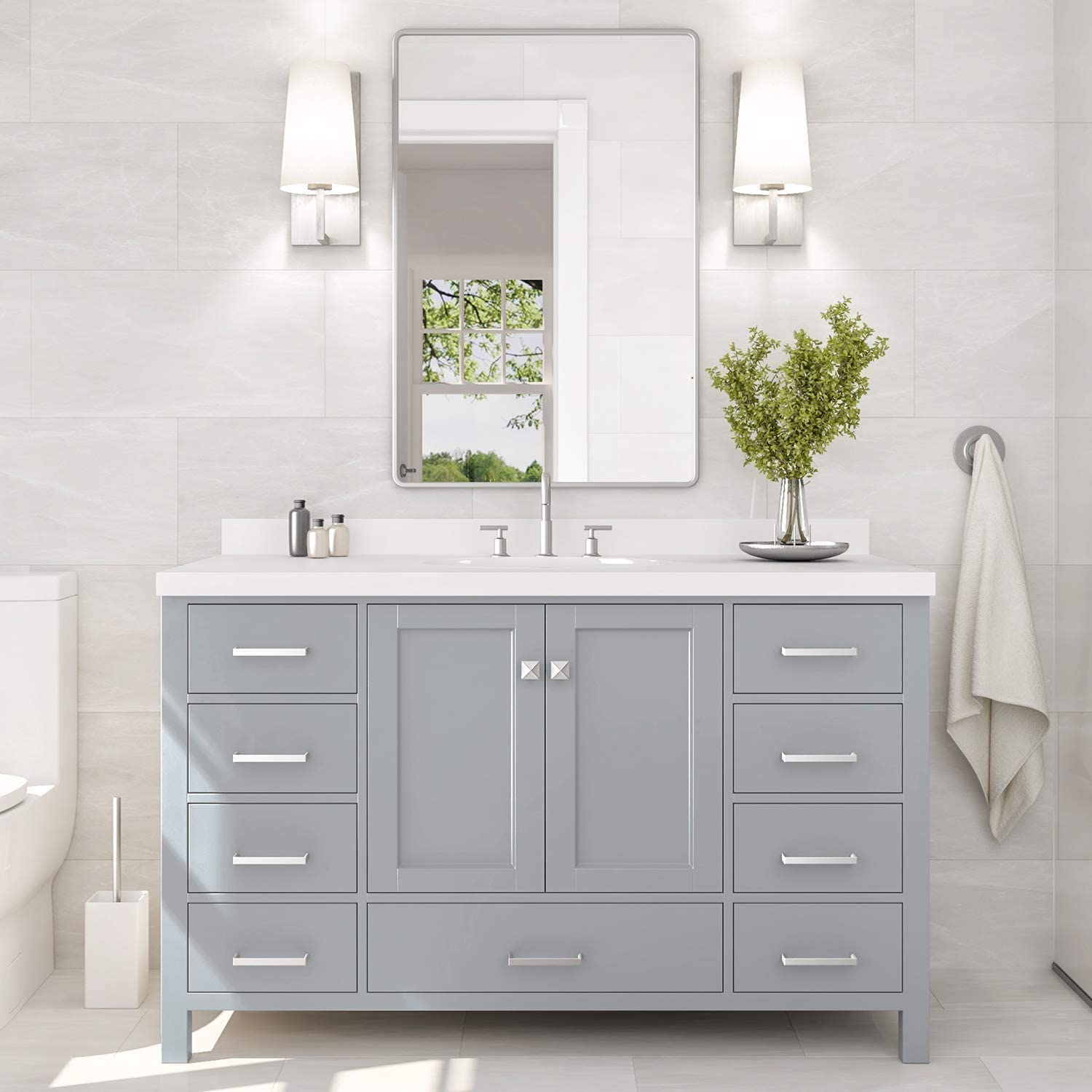 Amazon Com Ariel Bathroom Vanity 55 Inch With Pure White Quartz Countertop And Oval Sink In Gray 2 Soft Closing Doors 9 Full Extension Dovetail Drawers With Backsplash No