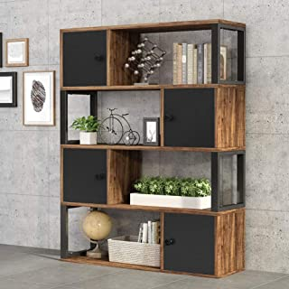 Tribesigns 4-Tier Bookcase, Rustic Open Bookshelf with Storage Cabinet, Vintage Industrial Display Book Shelf with Door for Home Office Organizer (Rustic)